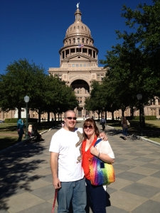 With my husband at the Texas State Capitol in Austin...