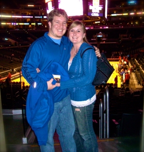 At an NBA game with my husband a few years ago...